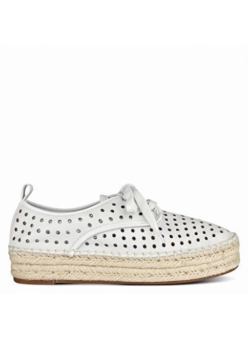 Nine West Deri Espadril Ayakkabı Beyaz